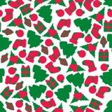 Άνευ ραφής σχέδιο Χριστουγέννων με το ζωηρόχρωμο αντικείμενο νέο έτος στοιχείων σχεδί&omicron Στοκ Εικόνες