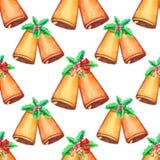 Άνευ ραφής σχέδιο Χριστουγέννων με το κουδούνι διανυσματική απεικόνιση