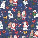 Άνευ ραφής σχέδιο Χριστουγέννων με το χιονάνθρωπο, τον τάρανδο και Άγιο Βασίλη ελεύθερη απεικόνιση δικαιώματος
