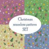 Άνευ ραφής σχέδιο Χριστουγέννων που τίθεται με το επίπεδο σχέδιο Στοκ Φωτογραφίες