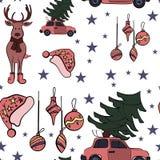 Άνευ ραφής σχέδιο Χριστουγέννων στο διάνυσμα με τα σημάδια και τα στοιχεία διακοπών απεικόνιση αποθεμάτων