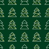 Άνευ ραφής σχέδιο Χριστουγέννων - χριστουγεννιάτικα δέντρα Στοκ Φωτογραφία