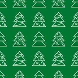 Άνευ ραφής σχέδιο Χριστουγέννων - χριστουγεννιάτικα δέντρα Στοκ Εικόνα