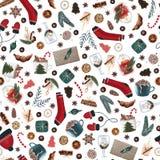 Άνευ ραφής σχέδιο Χριστουγέννων Hygge με τα χαριτωμένα και άνετα στοιχεία Χριστουγέννων σε ένα άσπρο υπόβαθρο σκοτεινό τυλίγοντας απεικόνιση αποθεμάτων