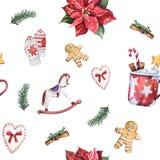 Άνευ ραφής σχέδιο Χριστουγέννων Watercolor με το παραδοσιακά ντεκόρ και τα στοιχεία Στοκ Εικόνα