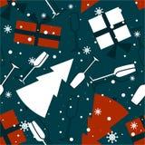 Άνευ ραφής σχέδιο, χριστουγεννιάτικα δώρα, γυαλιά για τη σαμπάνια, δέντρα έλατου απεικόνιση αποθεμάτων