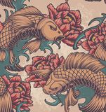 Άνευ ραφής σχέδιο χρώματος στο ιαπωνικό θέμα διανυσματική απεικόνιση