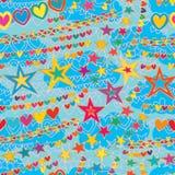 Άνευ ραφής σχέδιο ύφους αέρα γραμμών αγάπης αστεριών ελεύθερη απεικόνιση δικαιώματος