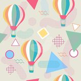 Άνευ ραφής σχέδιο ύφους της Μέμφιδας με το μπαλόνι ζεστού αέρα Στοκ Φωτογραφίες