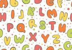 Άνευ ραφής σχέδιο ABC Ζωηρόχρωμο υπόβαθρο επιστολών Πηγή παιδιών κινούμενων σχεδίων για την εκτύπωση Στοκ Εικόνες