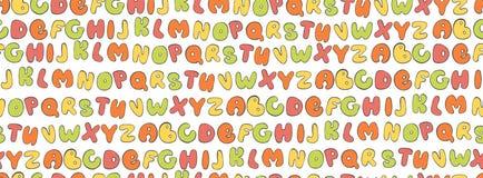 Άνευ ραφής σχέδιο ABC Ζωηρόχρωμο υπόβαθρο επιστολών Πηγή παιδιών κινούμενων σχεδίων για την εκτύπωση Στοκ φωτογραφία με δικαίωμα ελεύθερης χρήσης