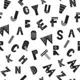 Άνευ ραφής σχέδιο ABC με τις λατινικές επιστολές αλφάβητου στο μονοχρωματικό Σκανδιναβικό ύφος επίσης corel σύρετε το διάνυσμα απ Στοκ εικόνα με δικαίωμα ελεύθερης χρήσης