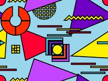 Άνευ ραφής σχέδιο Bauhaus Γεωμετρικά στοιχεία Μέμφιδα στο ύφος της δεκαετίας του '80 abstract background modern διάνυσμα Στοκ φωτογραφίες με δικαίωμα ελεύθερης χρήσης