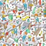 Άνευ ραφής σχέδιο Doodle: ` Αστείοι εργαζόμενοι ` Στοκ εικόνα με δικαίωμα ελεύθερης χρήσης