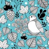 Άνευ ραφής σχέδιο doodle με τη φύση και τα πουλιά φθινοπώρου Στοκ Εικόνες