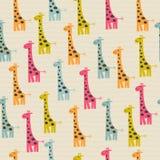 Άνευ ραφής σχέδιο Doodle με giraffe Στοκ φωτογραφία με δικαίωμα ελεύθερης χρήσης