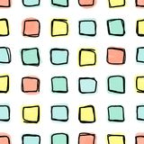 Άνευ ραφής σχέδιο, doodle τετραγωνικές μορφές σε ένα χαλαρό πλέγμα Στοκ Εικόνες