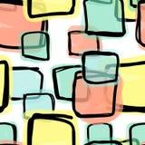 Άνευ ραφής σχέδιο, doodle τετραγωνικές μορφές Στοκ Εικόνες