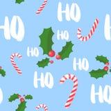 Άνευ ραφής σχέδιο Ho Ho Ho καραμελών Χριστουγέννων διανυσματική απεικόνιση