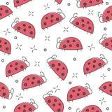 Άνευ ραφής σχέδιο Ladybug, αφηρημένη σύσταση διάνυσμα κειμένων θέσεων απεικόνισης κοριτσιών μόδας τέχνης σας Στοκ εικόνες με δικαίωμα ελεύθερης χρήσης