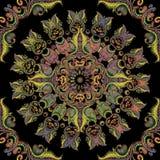 Άνευ ραφής σχέδιο mandala κεντητικής μπαρόκ Διανυσματική ζωηρόχρωμη διακόσμηση του Paisley ταπήτων floral στρογγυλή E Κεντημένος απεικόνιση αποθεμάτων