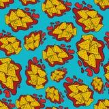 Άνευ ραφής σχέδιο nachos σχεδίων χεριών doodle Στοκ εικόνα με δικαίωμα ελεύθερης χρήσης