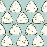 Άνευ ραφής σχέδιο Onigiri Ασιατικό πρόχειρο φαγητό Σφαίρα ρυζιού απεικόνιση αποθεμάτων