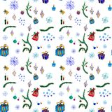 Άνευ ραφής σχέδιο watercolor για το ντεκόρ διακοπών με τα χριστουγεννιάτικα δέντρα διανυσματική απεικόνιση