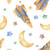 Άνευ ραφής σχέδιο Watercolor με τα αστέρια, πύραυλος, μήνας ελεύθερη απεικόνιση δικαιώματος