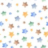 Άνευ ραφής σχέδιο Watercolor με τα αστέρια, πύραυλος, μήνας διανυσματική απεικόνιση