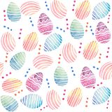 Άνευ ραφής σχέδιο Watercolor με τα ζωηρόχρωμα αυγά Πάσχας διανυσματική απεικόνιση