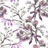 Άνευ ραφής σχέδιο Watercolor με τα ζωηρόχρωμα λουλούδια και τα φύλλα στο άσπρο υπόβαθρο, floral σχέδιο watercolor, λουλούδια μέσα Στοκ Εικόνα