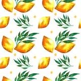 Άνευ ραφής σχέδιο Watercolor με τα λεμόνια και τα φύλλα απεικόνιση αποθεμάτων