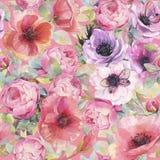 Άνευ ραφής σχέδιο Watercolor με τα λουλούδια, anemones, τις παπαρούνες, τα τριαντάφυλλα και τις πεταλούδες Ρομαντική βοτανική ταπ απεικόνιση αποθεμάτων