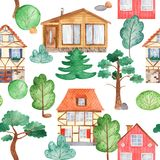 Άνευ ραφής σχέδιο Watercolor με τα σπίτια, δέντρα, πεύκα απεικόνιση αποθεμάτων
