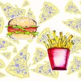 Άνευ ραφής σχέδιο Watercolor με την πίτσα και burger ελεύθερη απεικόνιση δικαιώματος