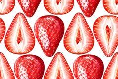 Άνευ ραφής σχέδιο watercolor με τις ώριμες φράουλες στο άσπρο υπόβαθρο στοκ εικόνες