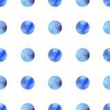 Άνευ ραφής σχέδιο Watercolor με τους μπλε κύκλους ελεύθερη απεικόνιση δικαιώματος