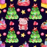 Άνευ ραφής σχέδιο watercolor τα στοιχεία Χριστουγέννων ανασκόπησης απομόνωσαν το λευκό διανυσματική απεικόνιση