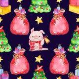 Άνευ ραφής σχέδιο watercolor τα στοιχεία Χριστουγέννων ανασκόπησης απομόνωσαν το λευκό ελεύθερη απεικόνιση δικαιώματος