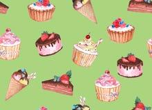 Άνευ ραφής σχέδιο Watercolor της βιομηχανίας ζαχαρωδών προϊόντων στοκ εικόνα