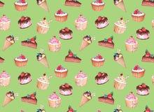 Άνευ ραφής σχέδιο Watercolor της βιομηχανίας ζαχαρωδών προϊόντων απεικόνιση αποθεμάτων