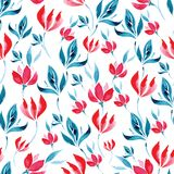 Άνευ ραφής σχέδιο watercolor των κόκκινων λουλουδιών και των τυρκουάζ φύλλων σε ένα άσπρο υπόβαθρο Στοκ Εικόνες