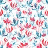 Άνευ ραφής σχέδιο watercolor των κόκκινων λουλουδιών και των τυρκουάζ φύλλων σε ένα άσπρο υπόβαθρο Στοκ φωτογραφία με δικαίωμα ελεύθερης χρήσης