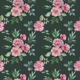 Άνευ ραφής σχέδιο watercolor των λουλουδιών και των φύλλων Ρύθμιση λουλουδιών για το σχέδιο απεικόνιση αποθεμάτων
