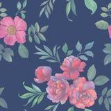 Άνευ ραφής σχέδιο watercolor των λουλουδιών και των φύλλων Ρύθμιση λουλουδιών για το σχέδιο ελεύθερη απεικόνιση δικαιώματος