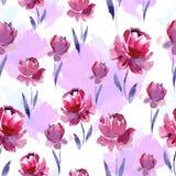 Άνευ ραφής σχέδιο watercolor των ρόδινων λουλουδιών και των πορφυρών φύλλων σε ένα άσπρο υπόβαθρο Στοκ Εικόνες