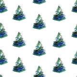 Άνευ ραφής σχέδιο watercolor χριστουγεννιάτικων δέντρων στο άσπρο υπόβαθρο ελεύθερη απεικόνιση δικαιώματος