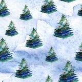 Άνευ ραφής σχέδιο watercolor χριστουγεννιάτικων δέντρων διανυσματική απεικόνιση