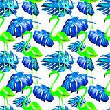Άνευ ραφής σχέδιο Watercolor Χρωματισμένη χέρι απεικόνιση των τροπικών φύλλων και των λουλουδιών Τροπικό θερινό μοτίβο με το τροπ Στοκ φωτογραφίες με δικαίωμα ελεύθερης χρήσης